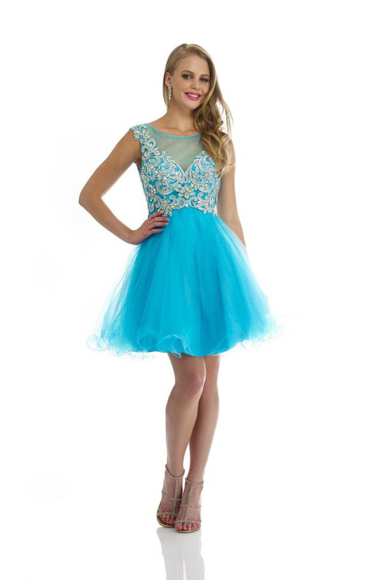 bateau neckline beaded tulle bodice a line short prom dress