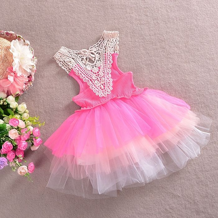 6fd1bfb0166 Baby Kid Girl Princess Formal Party Tutu Lace Flower Dress PINK 2-3 Years S