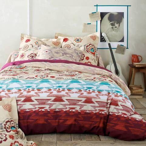 Housse De Couette Coton Reversible Fleurs Et Imprime Imitation Ikat Omerille Multicolore Vue 1 Housse De Couette Couette Et Linge De Lit