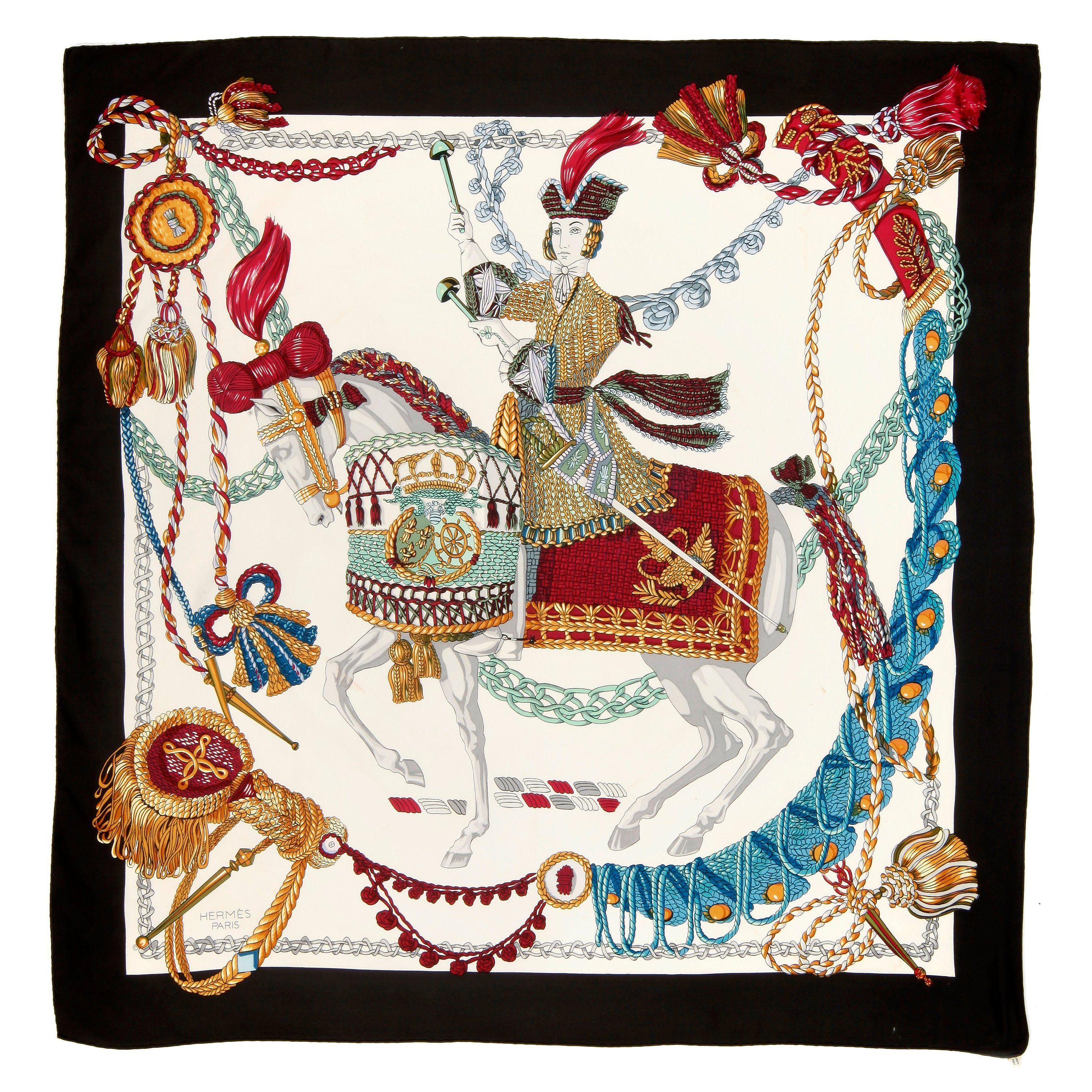 e2613dbcd82d91 Vintage Hermes Silk Scarf Blouse Les Cles or The Keys Exclusif Label ...