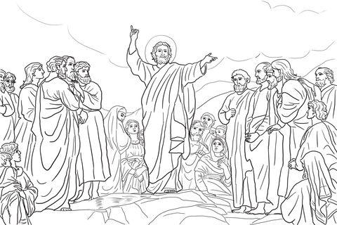 Jesus Ensina As Bem Aventurancas Pagina Para Colorir Paginas De