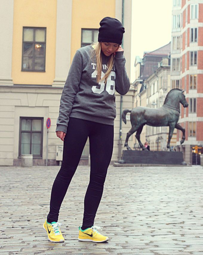 Sweatshirt, workout pant, tennis shoes and beanie
