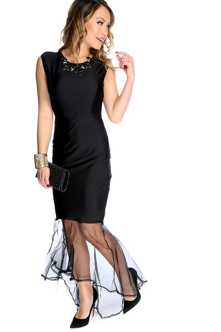 Sexy black sleeveless round neckline sheer hem maxi dress neckline