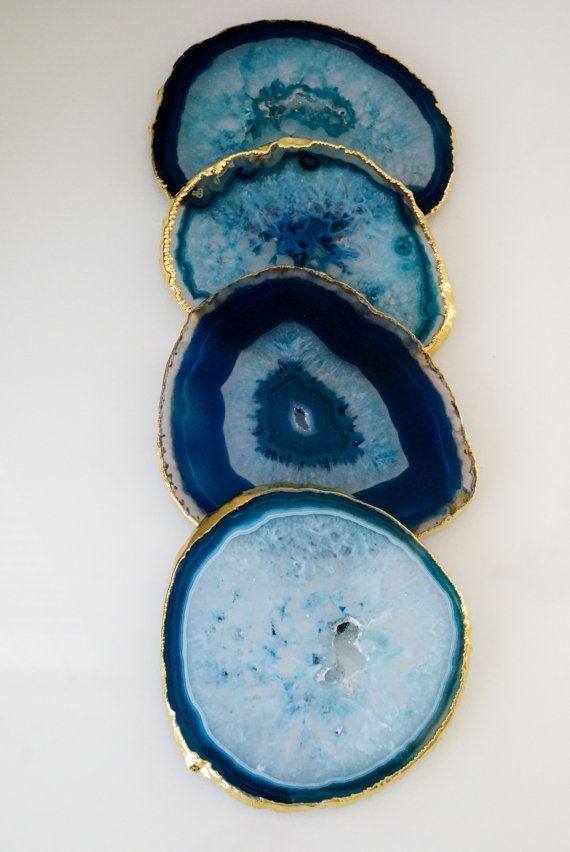 BLUE agate coasters. GOLD or SILVER rim. geode coasters. gem coasters. coaster set. home decor. drinking coasters. housewarming gift images