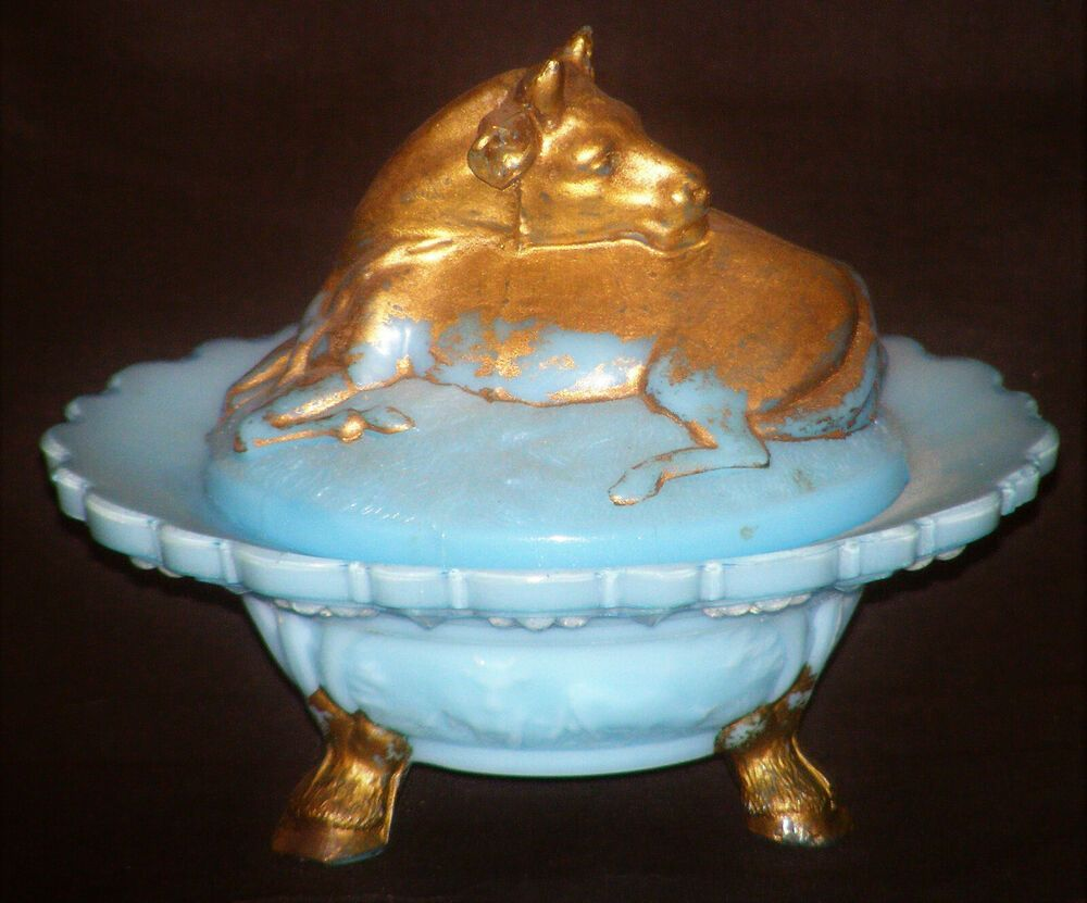 Antique vallerysthal france blue milk glass cow covered
