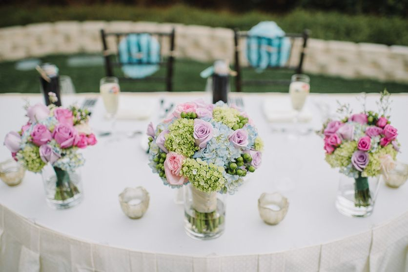 Pastel Pink and Blue Wedding Floral Bouquet at Sweetheart Table ...