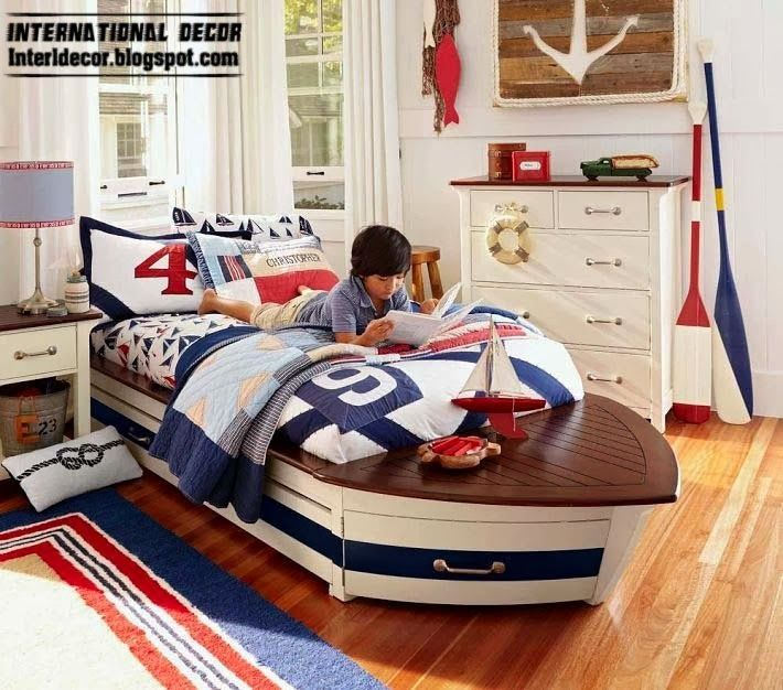Boat bed for kids children room design in marine style · pottery barn