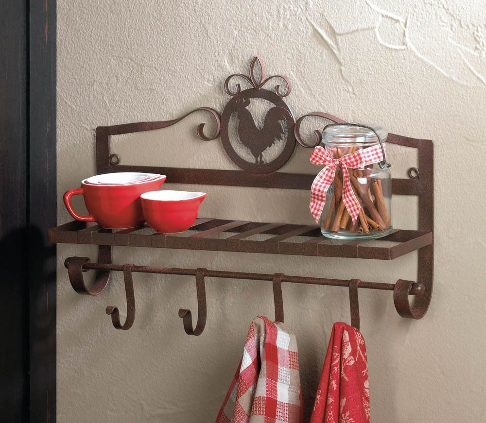 Brown metal rooster chicken wall hook rack rustic western for Rooster home decor