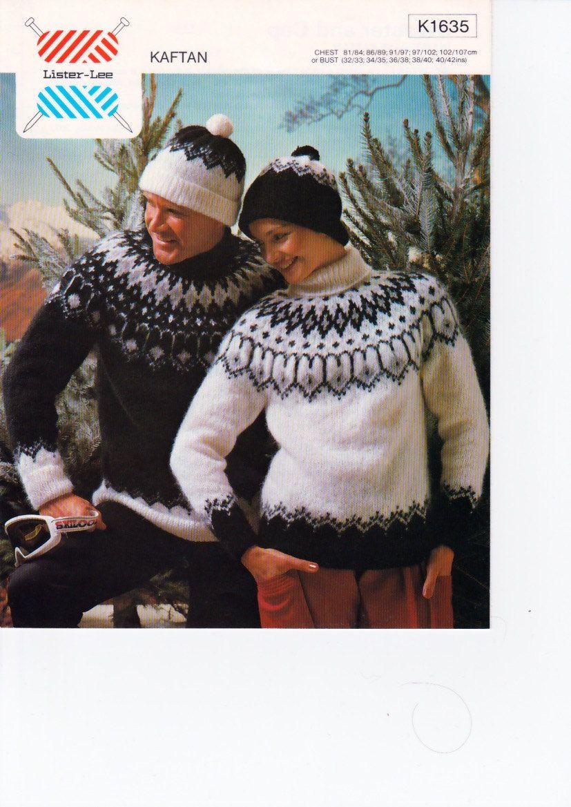 Vintage Knitting Pattern Childs Fair Isle Cardigan//Jumper//Hat .Christmas//Skiing.
