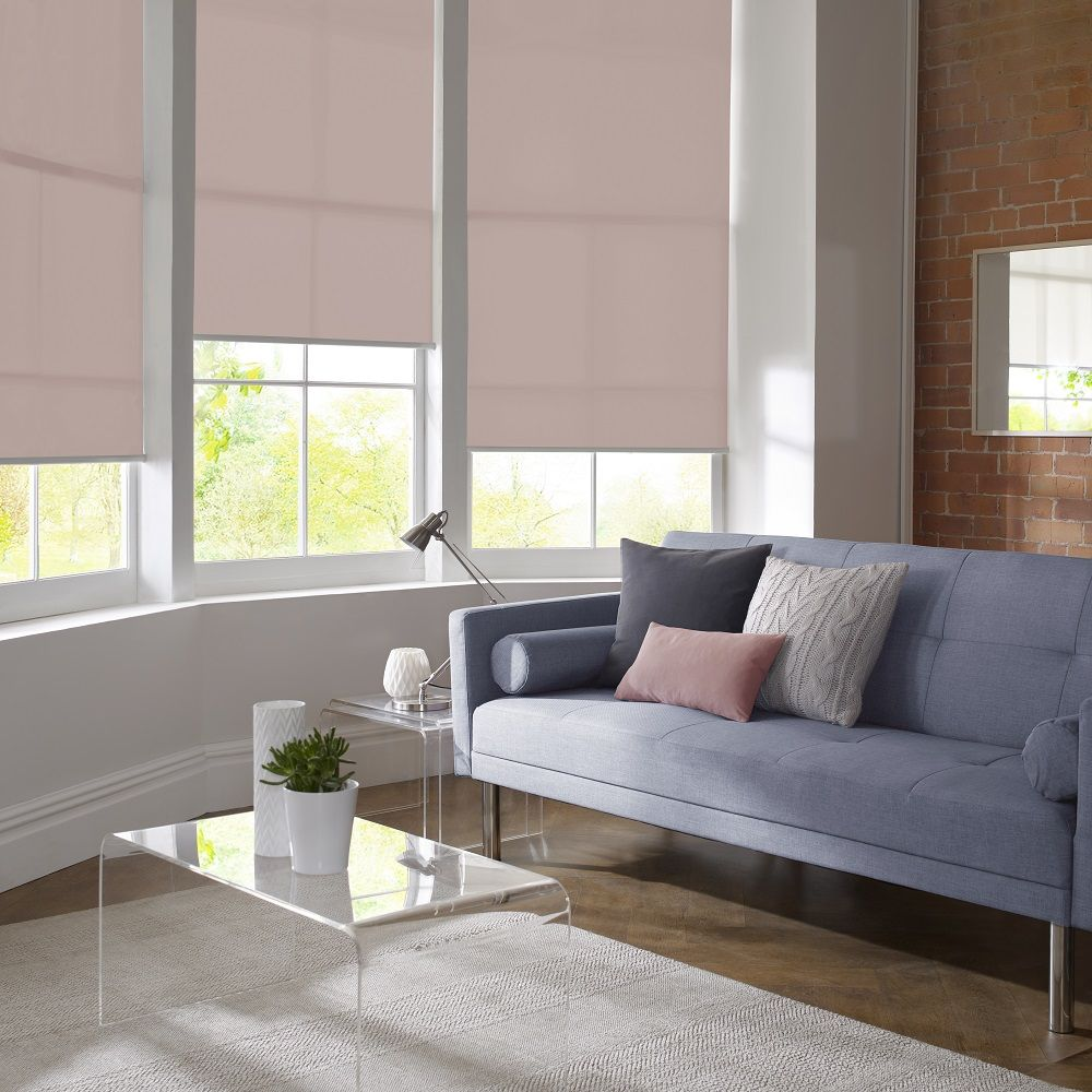 Rose Living Room Roller Blinds By Style Studio Quartz And Serenity Colour Scheme