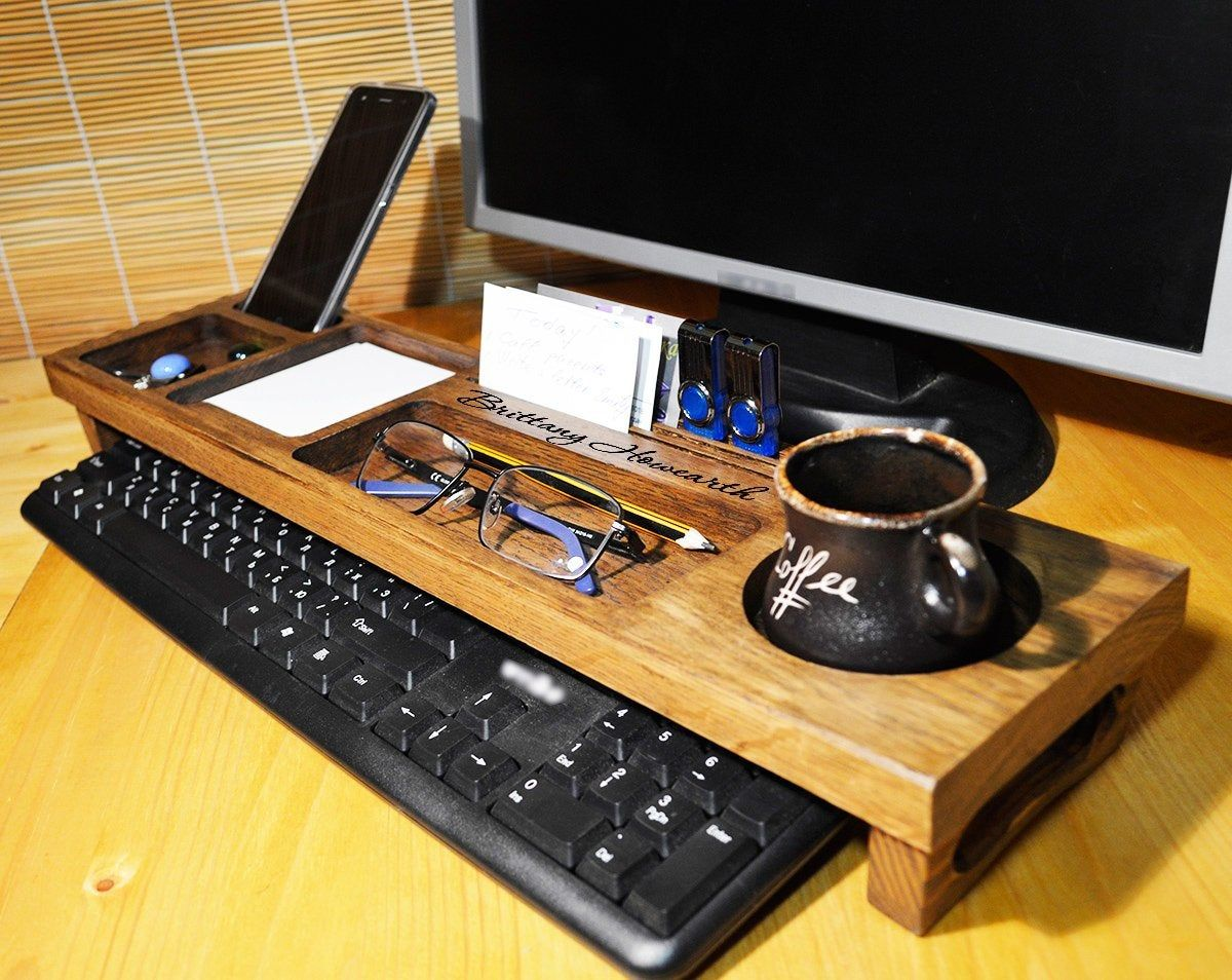 Wood Anniversary Gift For Him Wooden Desk Organizer Desk