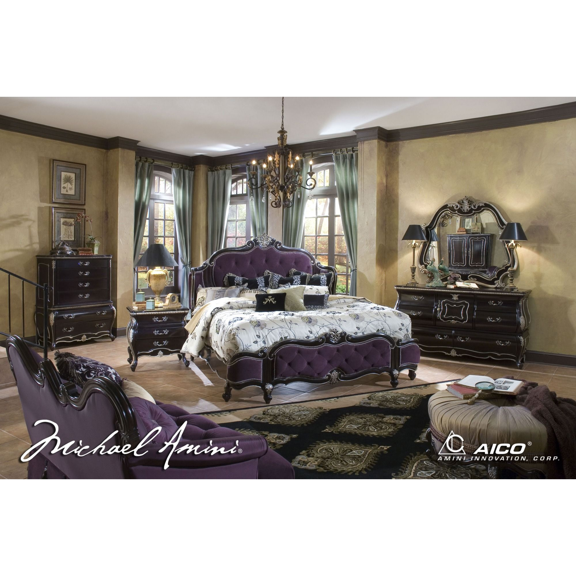 Lavelle Dark Truffle 4pc King Size Mansion Tufted Bedroom Set by