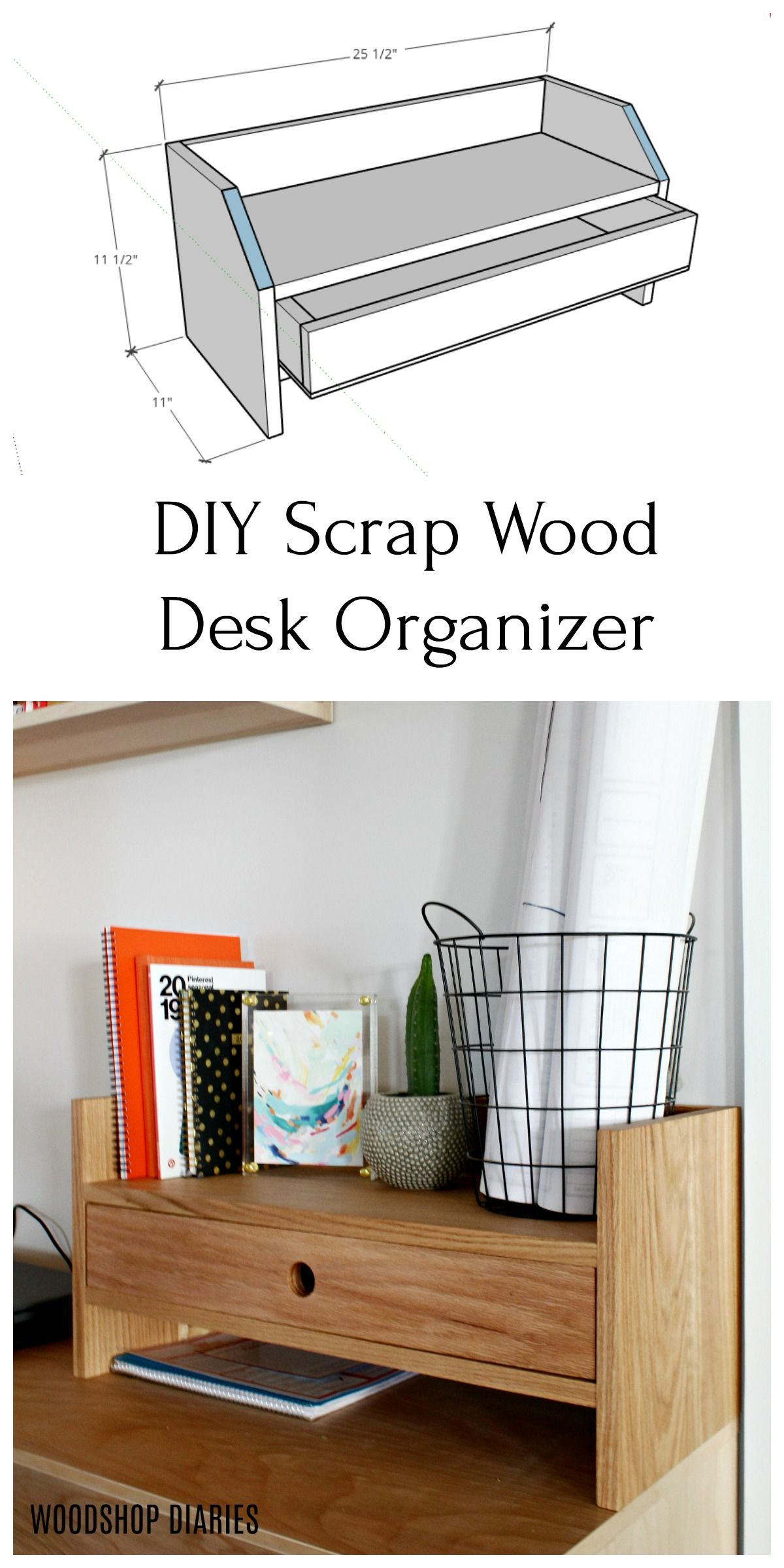 Simple Diy Desk Organizer In 2020 Desk Organization Diy Diy Wood Desk Desk Organization