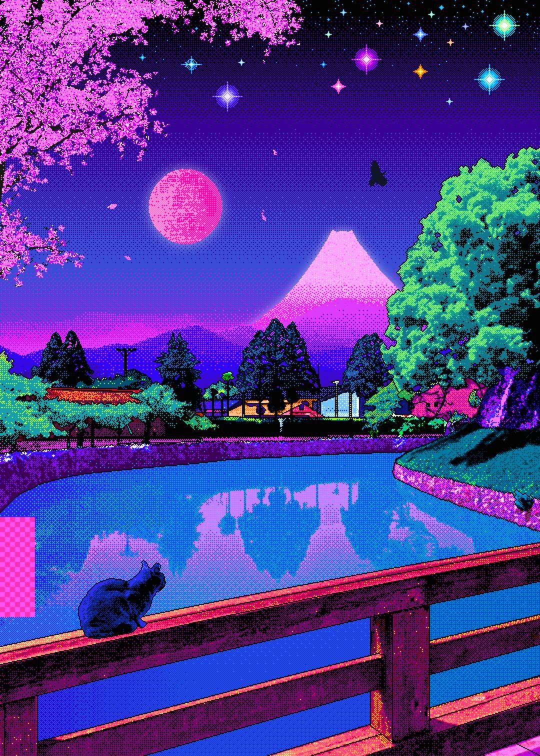 Vaporwave Cat Wallpaper Best Cat Wallpaper