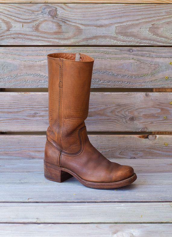 3d9f9e56c2459 Vintage FRYE Boots | Rocker Campus Caramel Brown Leather Boots Mens ...