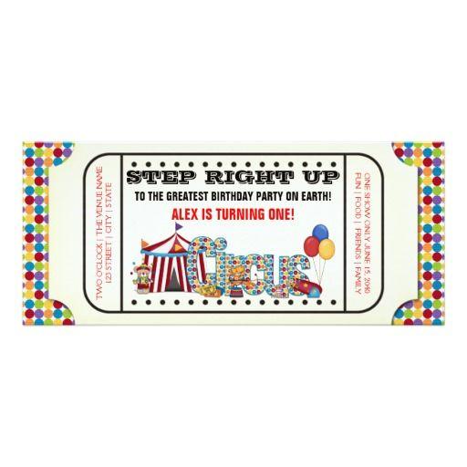 Vintage Circus Ticket Birthday Party Invitation