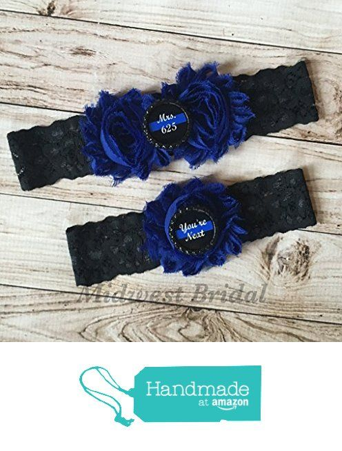 Police Officer/'s Wife Ivory Custom Badge number Blue Lace Wedding Garter Police Sheriff Thin Blue Line