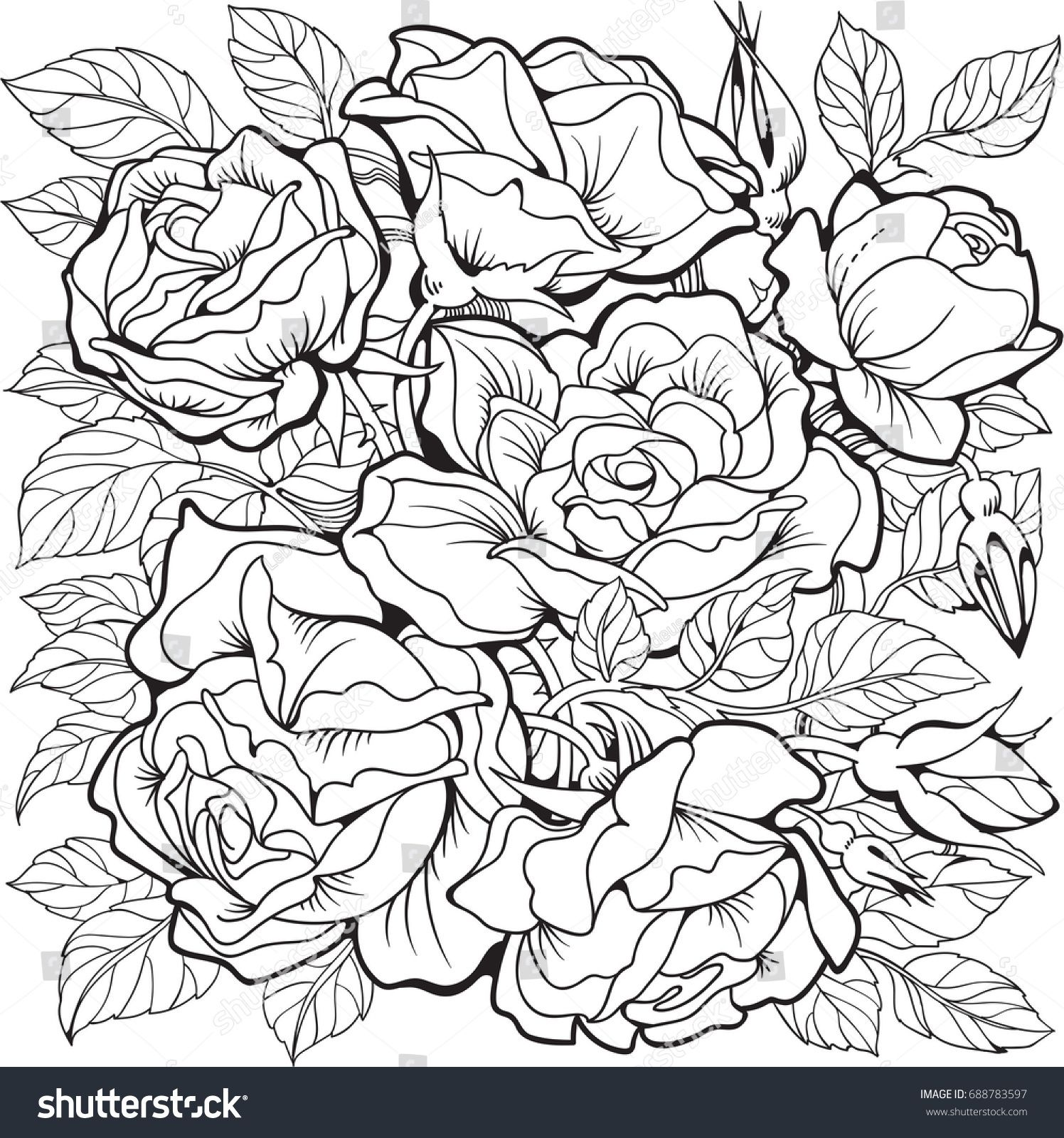 Rose Flowers Coloring Page Line Art Drawing Coloring Pages