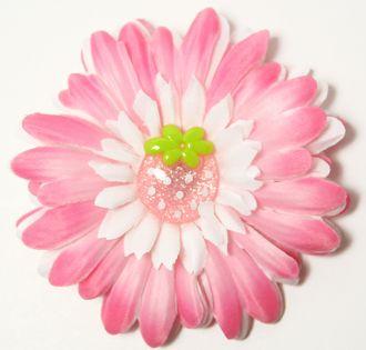 """4"""" Designer Light Pink and White Flower/Flower Clip"""