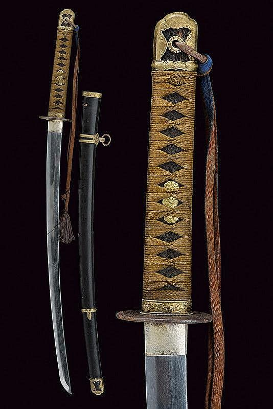 Description: An officer's katana dating: second quarter of the 20th Century provenance: Japan Blade (length 66 cm) with slightly visible hamon and hada, silver-plated habaki, nakago with one mekugi-ana, mei with stamp; complete with koshirae.  dimensions: length 93.5 cm.