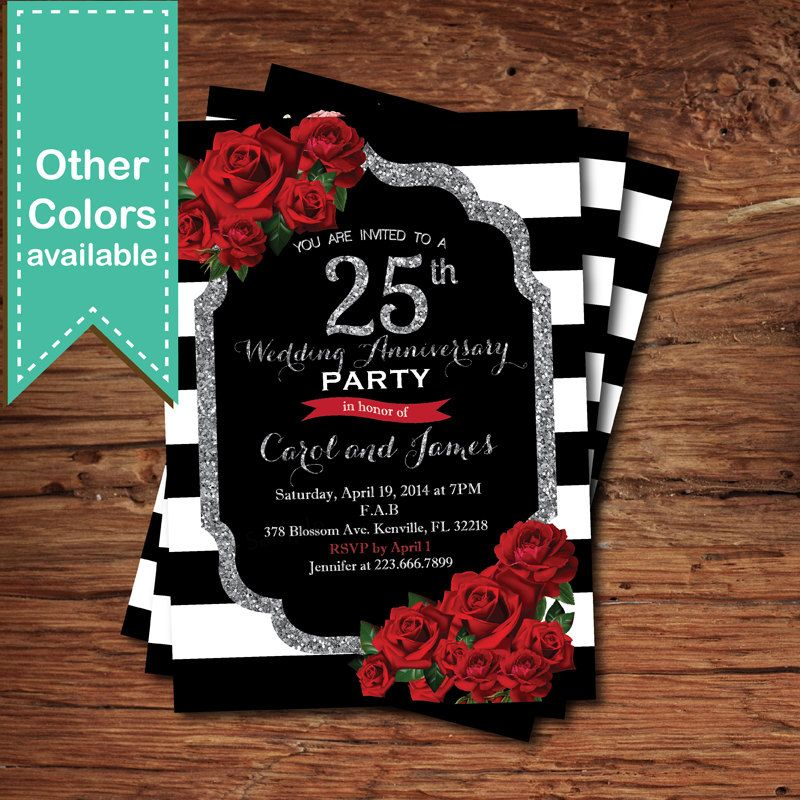 Silver wedding anniversary invitation Red rose black and silver - fresh sample of anniversary invitation card