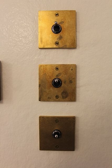 Vintage  Cover Plate  for  Electrical Push Button Snap Switch  Brass colored