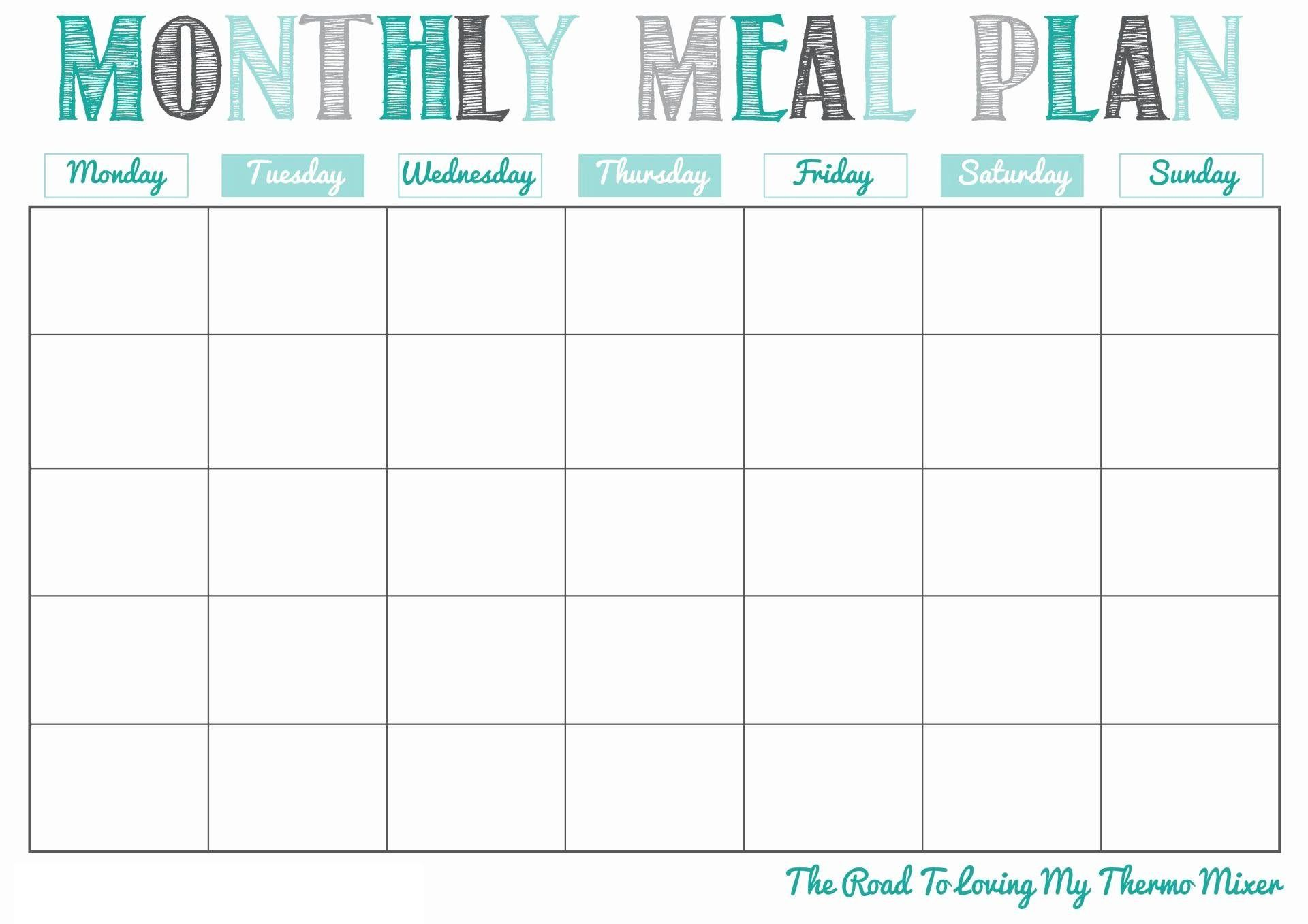 Scheduling Monthly Meal Calendar Template