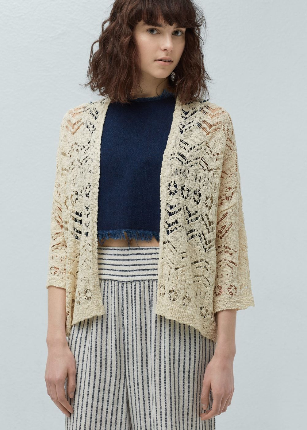 nueva procesos de tintura meticulosos gama exclusiva Cárdigan calado algodón - Mujer | ropa compras | Cotton ...