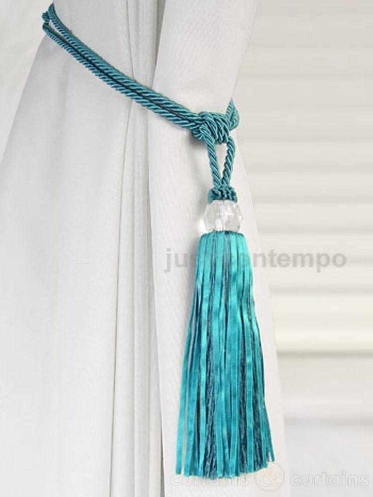 Crystal Beaded Teal Blue Tassel Curtain Tie Back Made Of Flat
