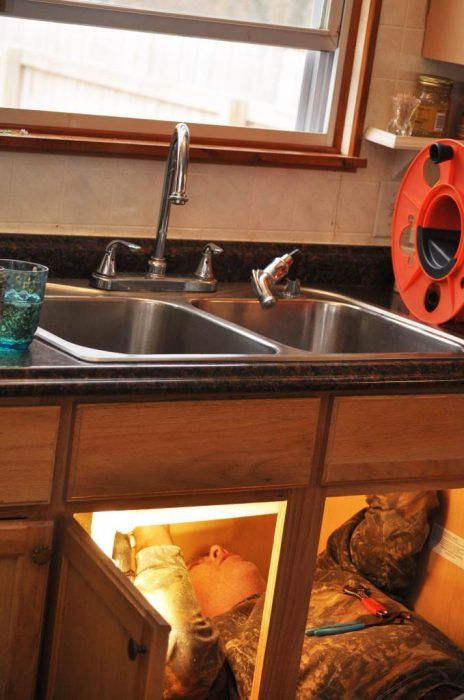 mobile home kitchen sink oak table budget friendly makeover repair replacing and faucet in a