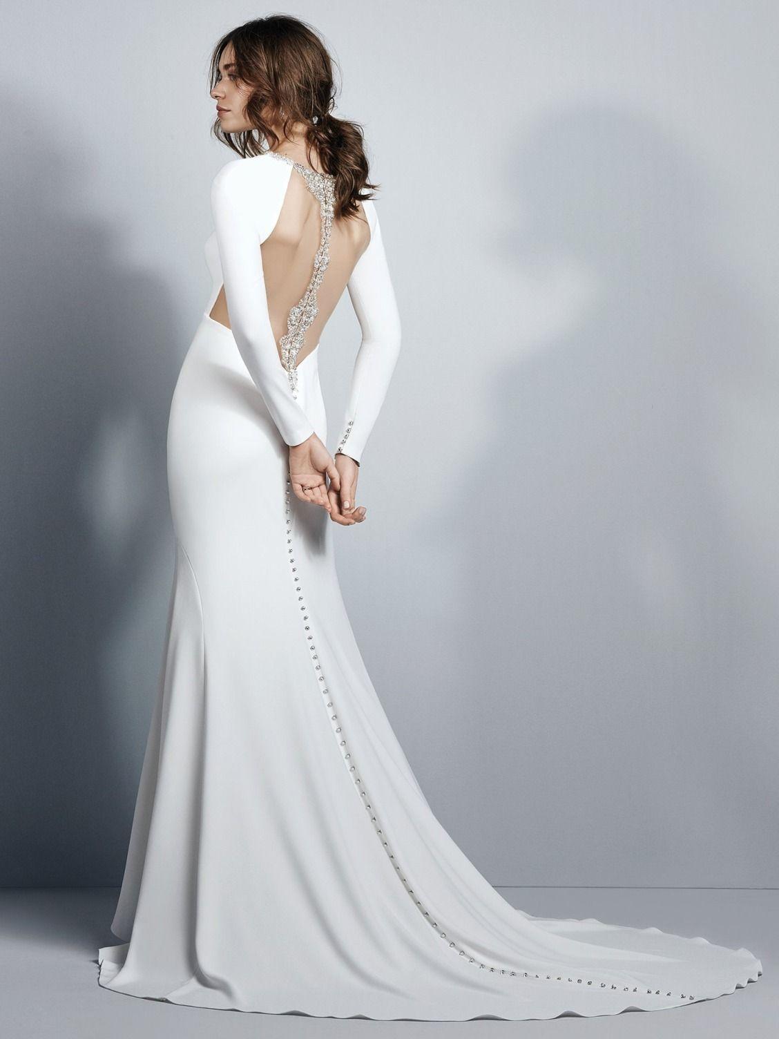 ... crepe sheath wedding dress evokes Old Hollywood glamour 99fd25e2d203