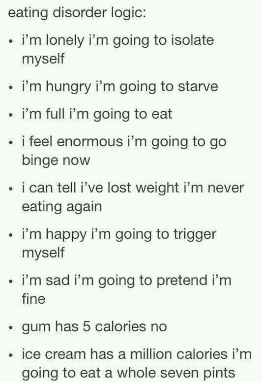 Eating Disorder Logic Its Sad Because It Makes Sense  Sad
