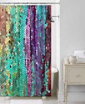Beautiful Shower Curtain Teal And Purple Mosaic Unique Fabric