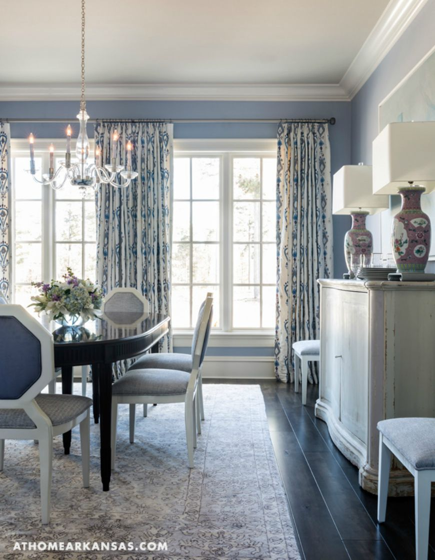 25 Dreamy Ideas To Add Blue To Your Dining Room Decor Dining Room Curtains Dining Room Blue Modern Dining Room