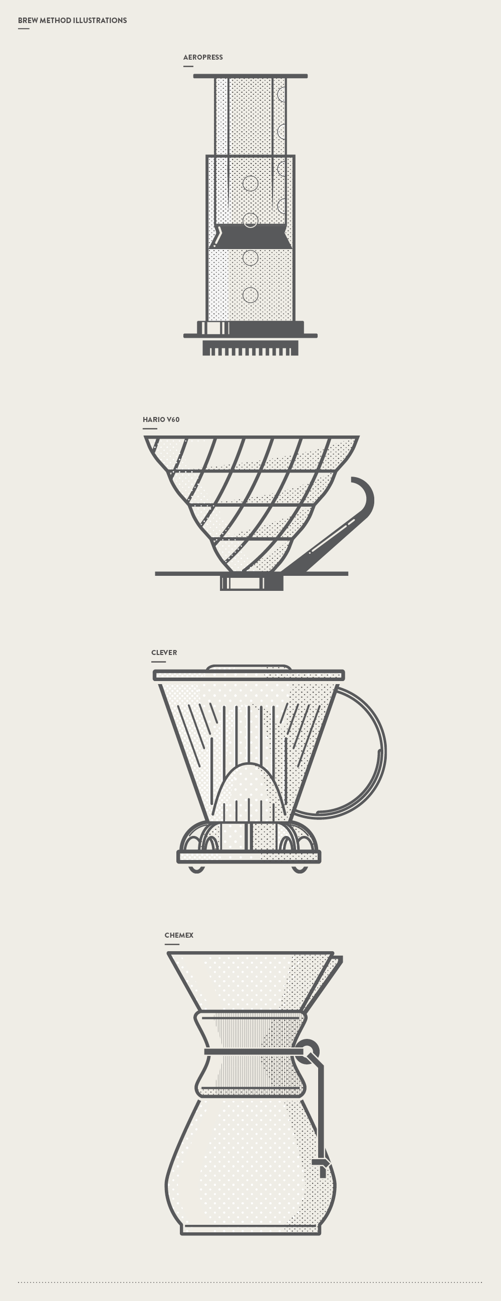 brew method illustrations for slate coffee roasters | blake