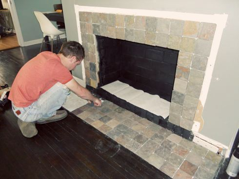 Fireplace Makeover Removing A Brick Hearth And Retiling Brick Hearth Fireplace Makeover Fireplace Redo