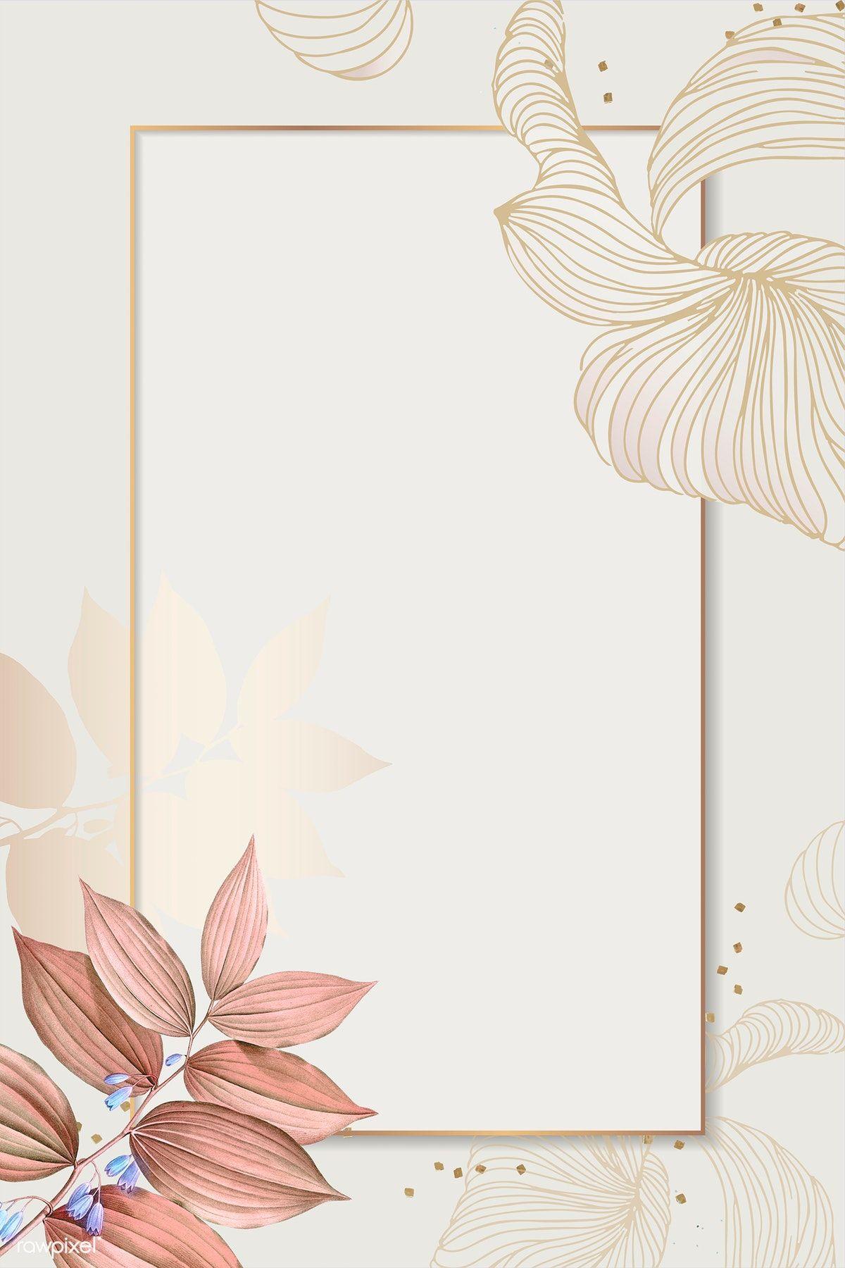 Download premium illustration of Golden floral rectangle frame