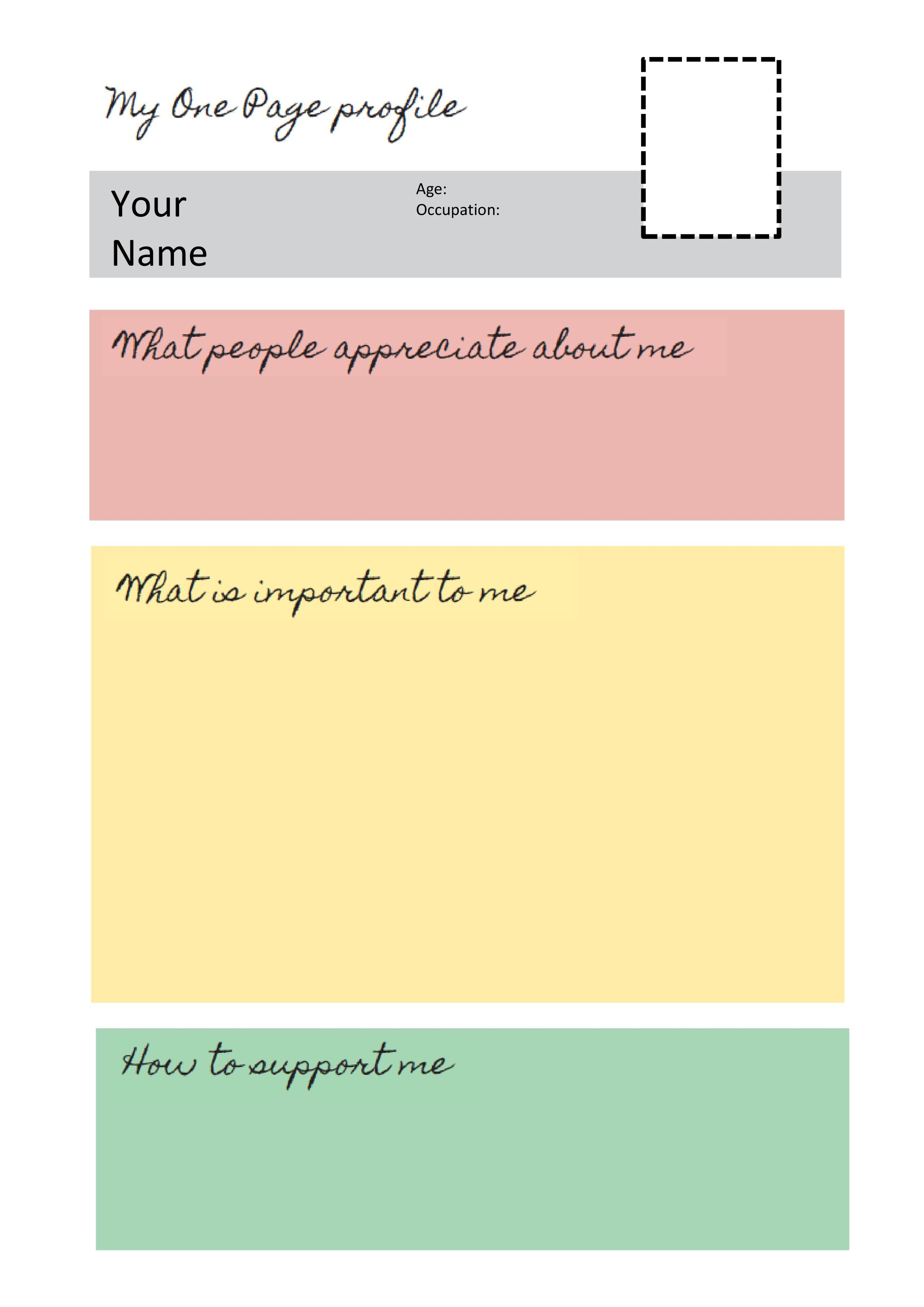 One Page Profile Templates Helen Sanderson Associates First