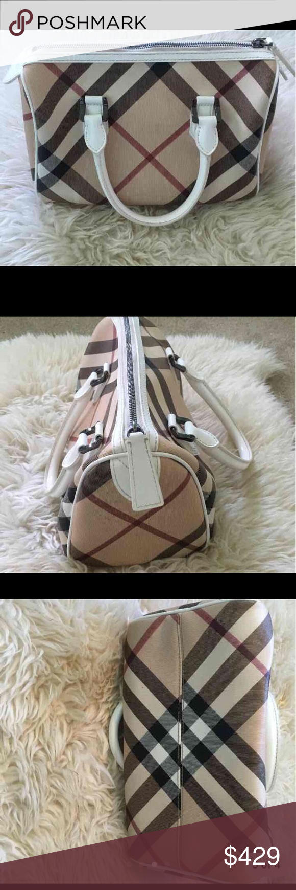 c2de13a94500 Authentic Burberry Handbag BURBERRY Nova Check Small Chester Bowling Bag In  white. In super great condition! Burberry Bags Totes