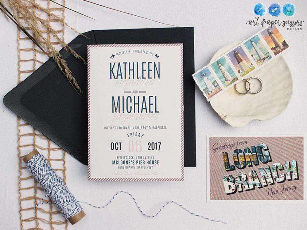 Nautical and modern navy wedding invitations | Long Branch, NJ beach ...