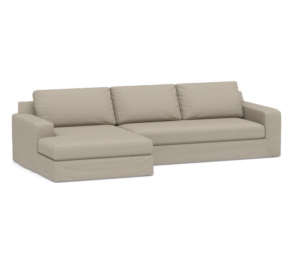 Big Sur Square Arm Slipcovered Sofa With Double Chaise Sectional