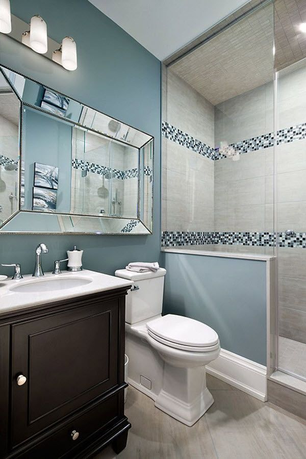 35 blue grey bathroom tiles ideas and pictures for Blue and gray bathroom accessories