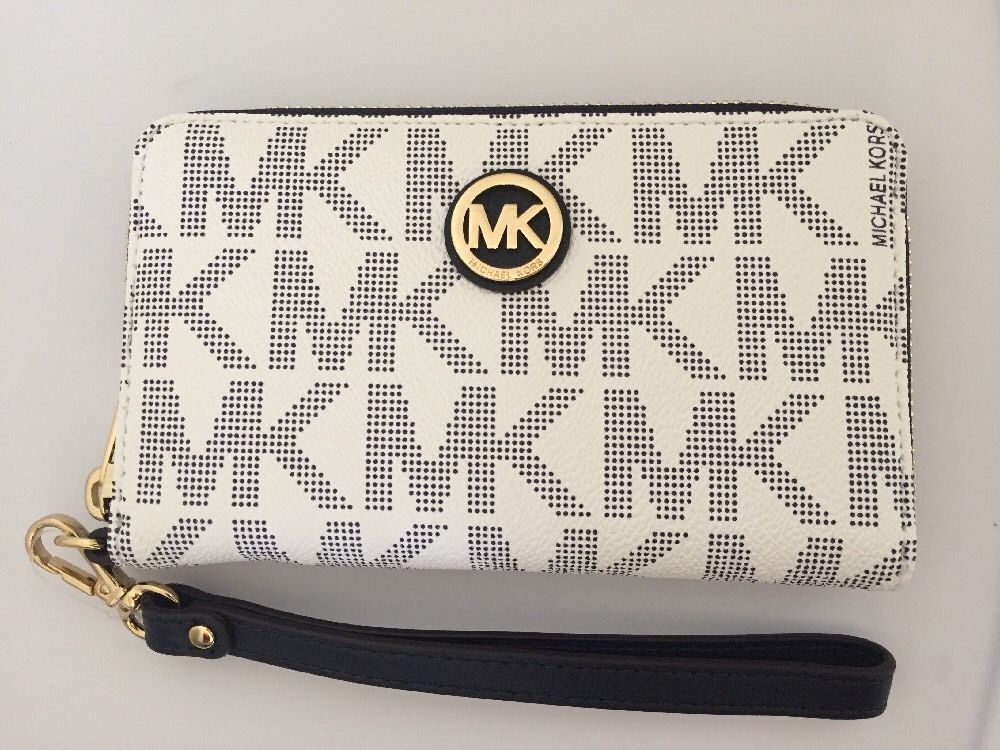 d46f22eecc659c Michael Kors Fulton Multifunction Phone Case Wristlet Navy White Signature  | eBay