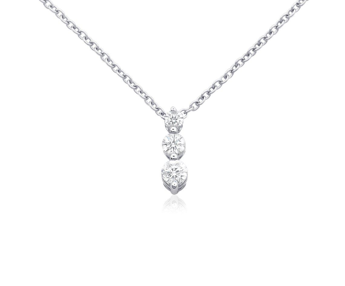 Three stone drop diamond pendant in 18k white gold bluenile three stone drop diamond pendant in 18k white gold bluenile aloadofball Image collections