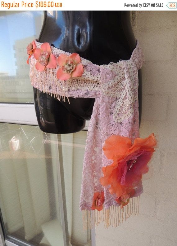 50% OFF Vintage Stunning OOAK Handmade Peach  Antique Lace Crochet Flower beaded Fringe Flapper Art Deco Gatsby Corset  Belt Headpiece by GlamourZoya on Etsy