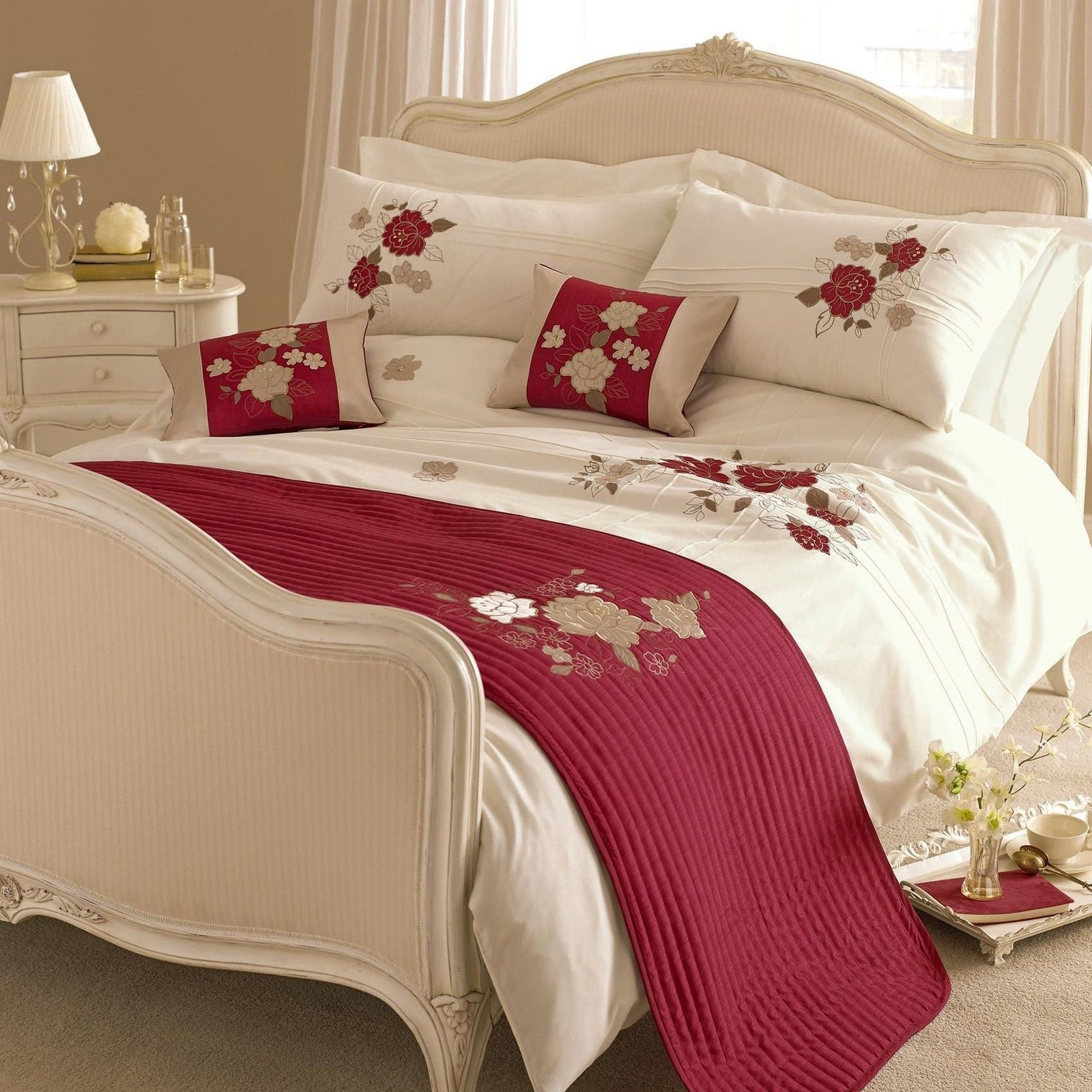 Details About Cream Red Gold Embroidered Floral Bedding Set Duvet