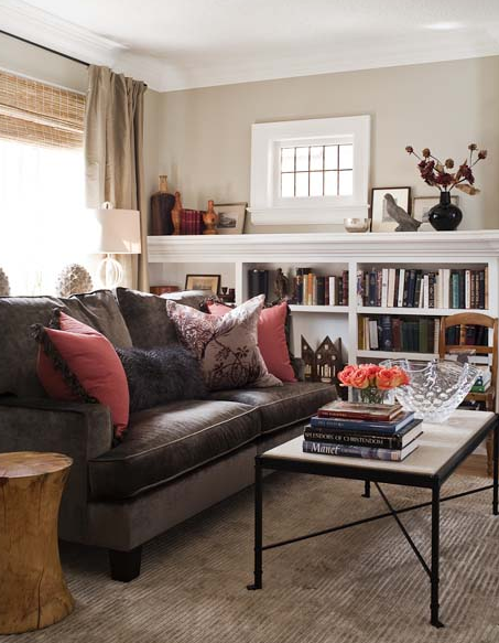 Transitional living room design with chocolate brown ...