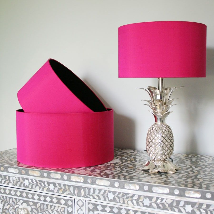 Hot Pink Silk Dupion Shade With Black Cotton Lining