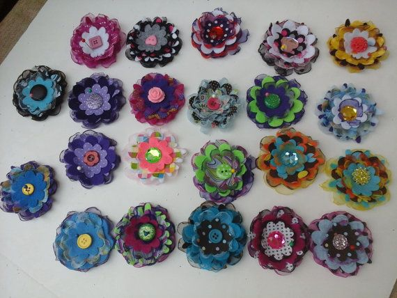 Flower accessories by SimplyBloomingDesign on Etsy, $15.00 for set of 5.