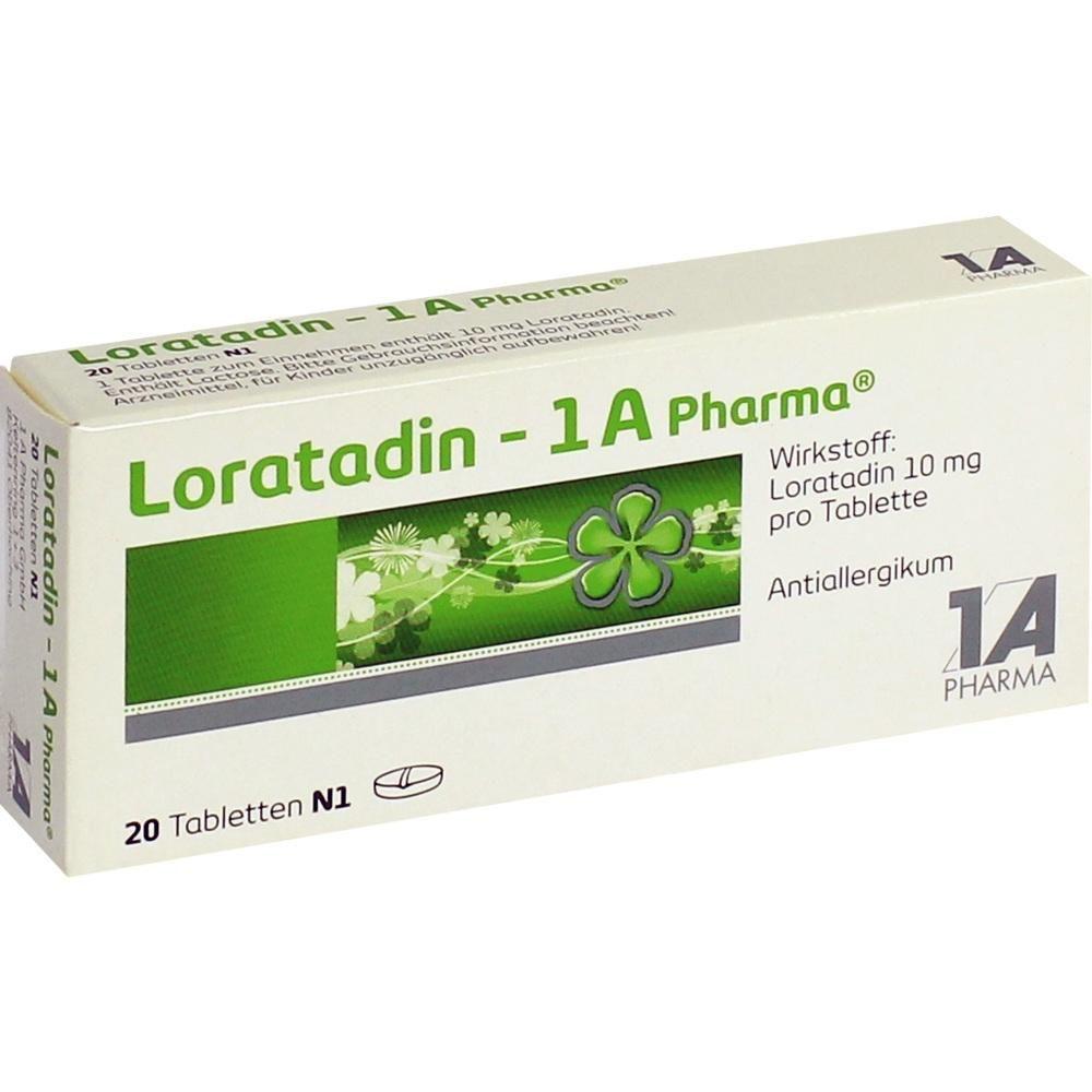 LORATADIN 1A Pharma Tabletten:   Packungsinhalt: 20 St Tabletten PZN: 01879106 Hersteller: 1 A Pharma GmbH Preis: 2,99 EUR inkl. 19 %…